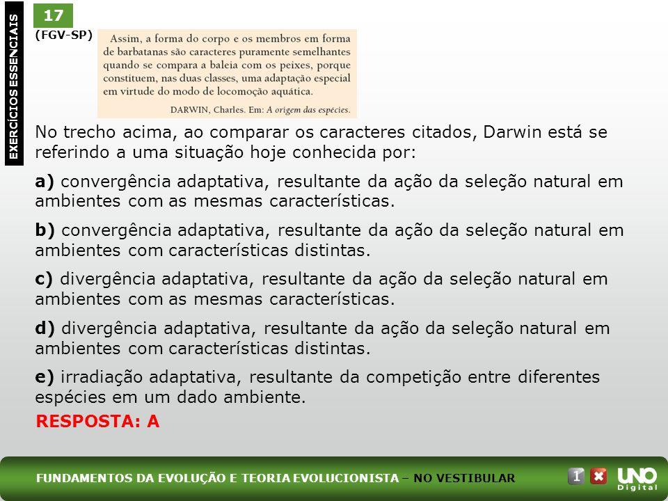 (FGV-SP) No trecho acima, ao comparar os caracteres citados, Darwin está se referindo a uma situação hoje conhecida por: a) convergência adaptativa, r