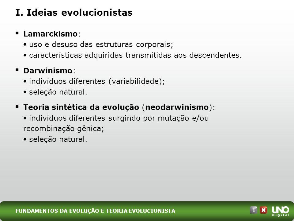 I. Ideias evolucionistas Lamarckismo: uso e desuso das estruturas corporais; características adquiridas transmitidas aos descendentes. Darwinismo: ind