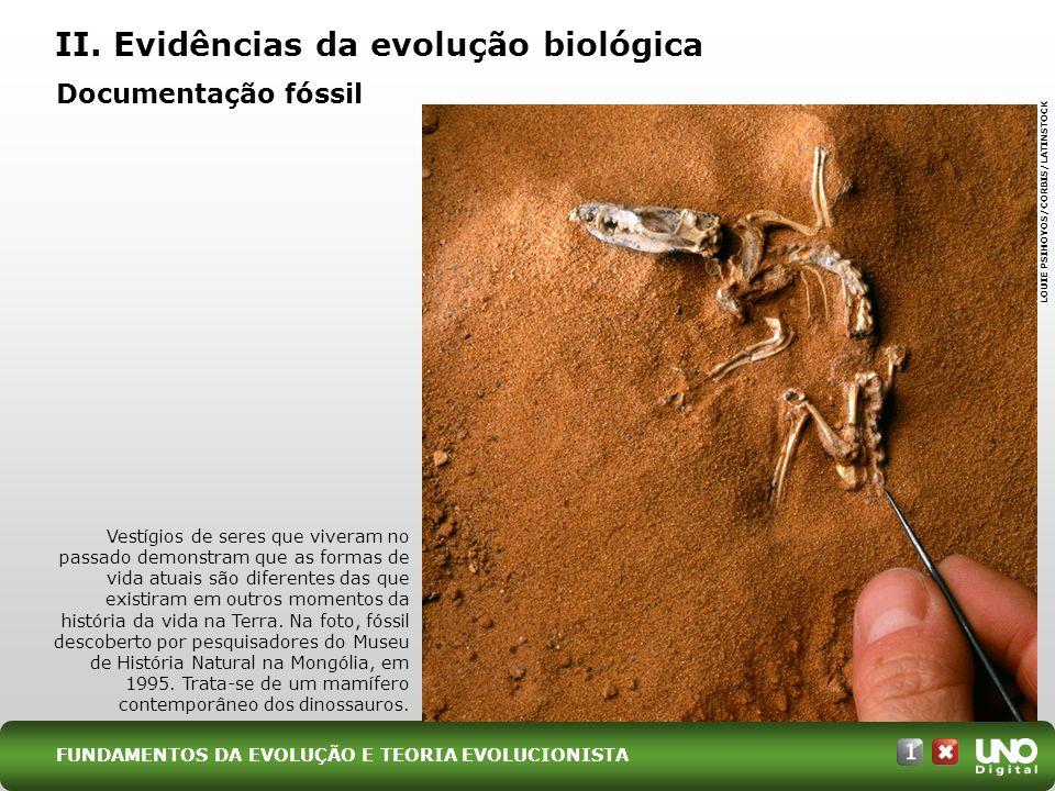 II. Evidências da evolução biológica Vestígios de seres que viveram no passado demonstram que as formas de vida atuais são diferentes das que existira