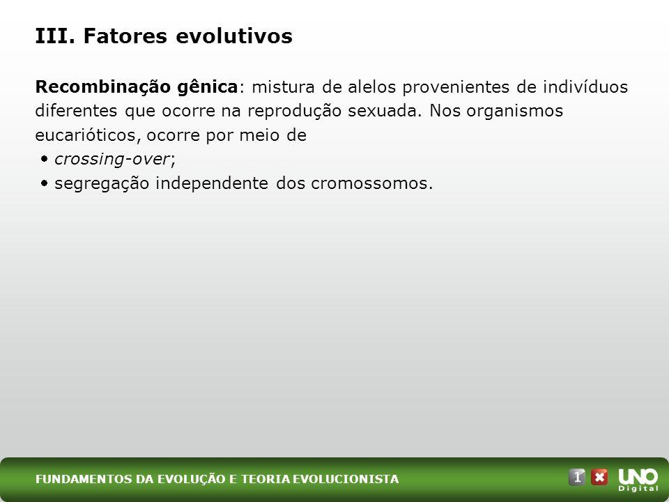 III. Fatores evolutivos Recombinação gênica: mistura de alelos provenientes de indivíduos diferentes que ocorre na reprodução sexuada. Nos organismos