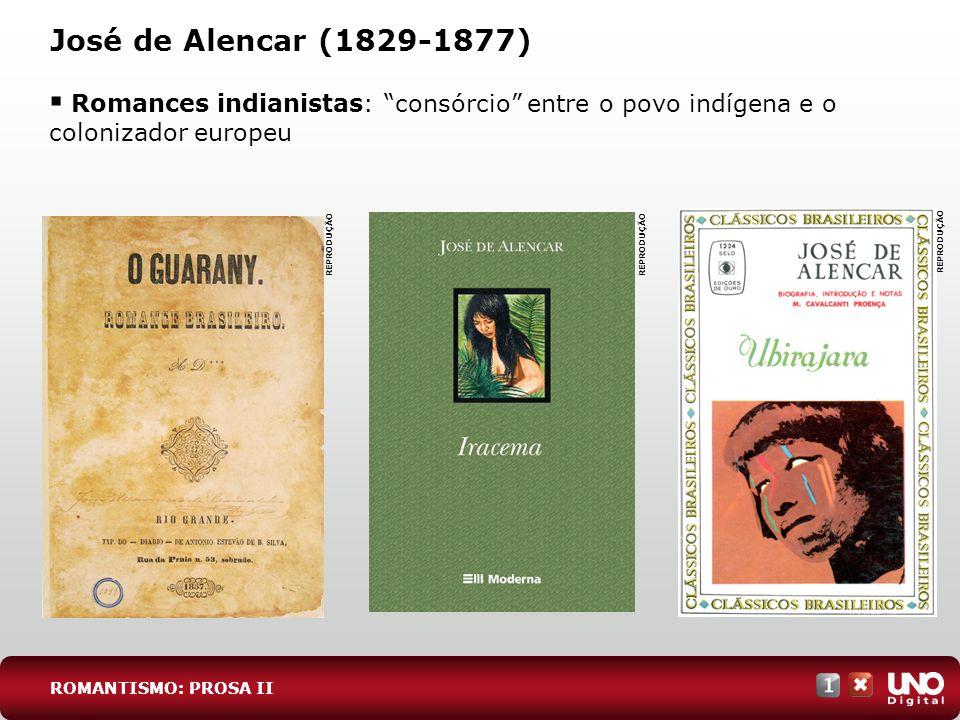 José de Alencar (1829-1877) ROMANTISMO: PROSA II Romances indianistas: consórcio entre o povo indígena e o colonizador europeu REPRODUÇÃO