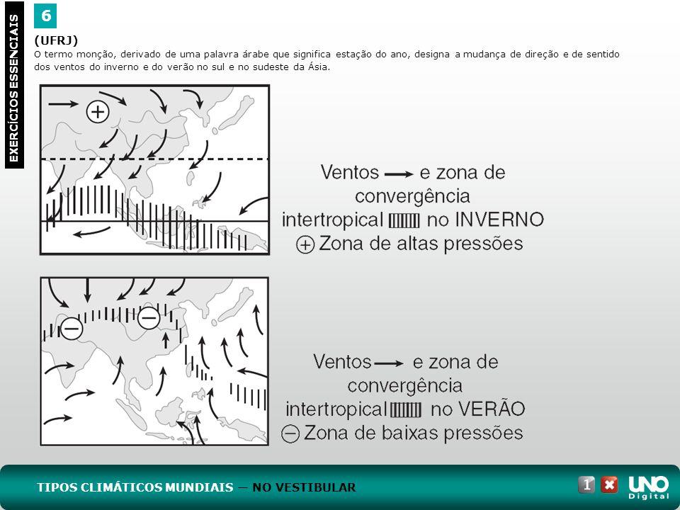 (UFRJ) O termo monção, derivado de uma palavra árabe que significa estação do ano, designa a mudança de direção e de sentido dos ventos do inverno e d