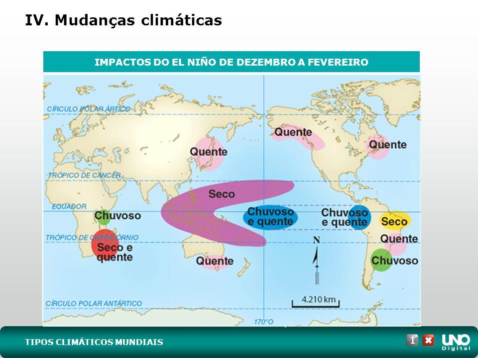 IV. Mudanças climáticas TIPOS CLIMÁTICOS MUNDIAIS IMPACTOS DO EL NIÑO DE DEZEMBRO A FEVEREIRO