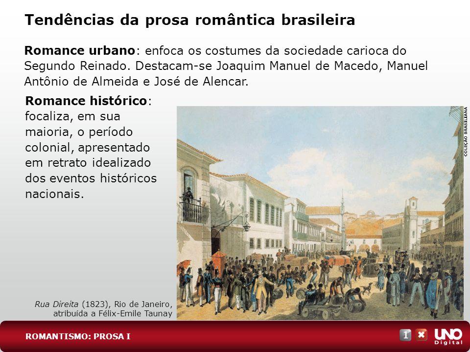 Tendências da prosa romântica brasileira Romance urbano: enfoca os costumes da sociedade carioca do Segundo Reinado. Destacam-se Joaquim Manuel de Mac