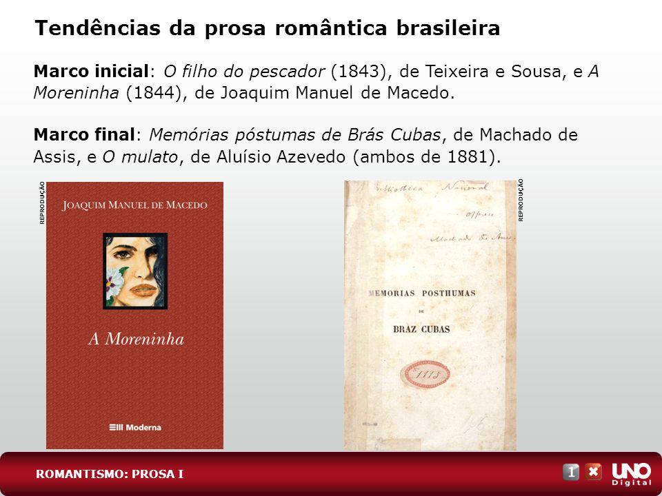 Tendências da prosa romântica brasileira Marco inicial: O filho do pescador (1843), de Teixeira e Sousa, e A Moreninha (1844), de Joaquim Manuel de Ma