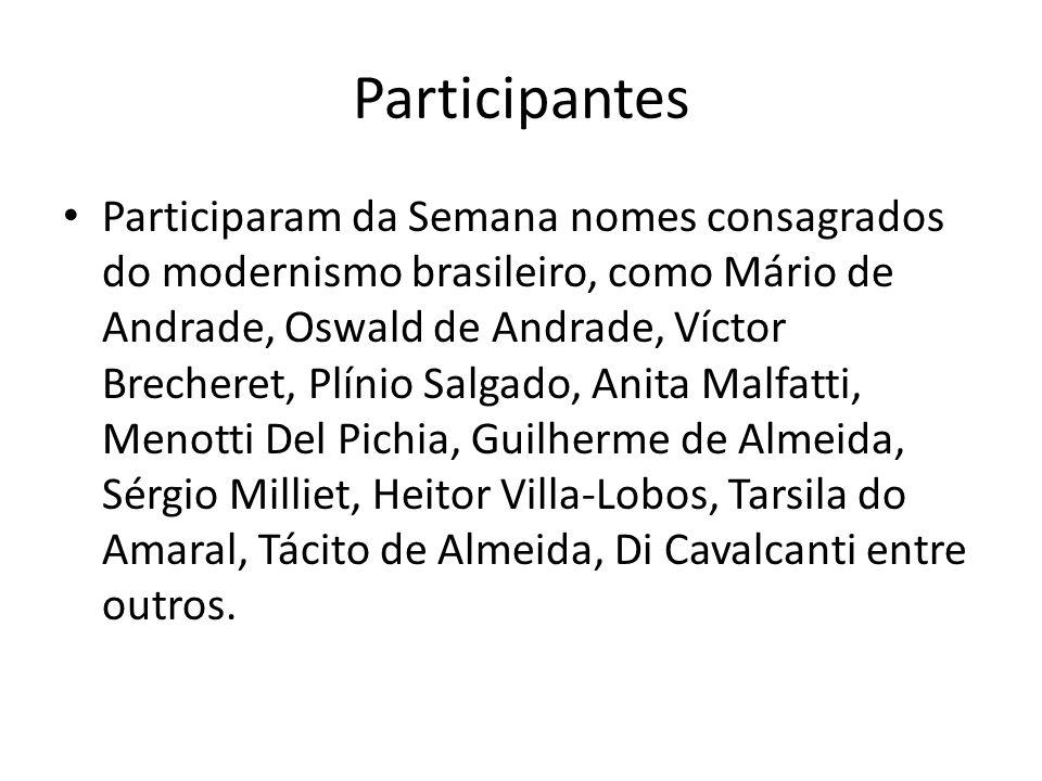 Participantes Participaram da Semana nomes consagrados do modernismo brasileiro, como Mário de Andrade, Oswald de Andrade, Víctor Brecheret, Plínio Sa