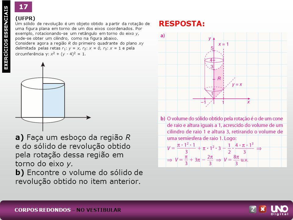 (UFPR) Um sólido de revolução é um objeto obtido a partir da rotação de uma figura plana em torno de um dos eixos coordenados. Por exemplo, rotacionan