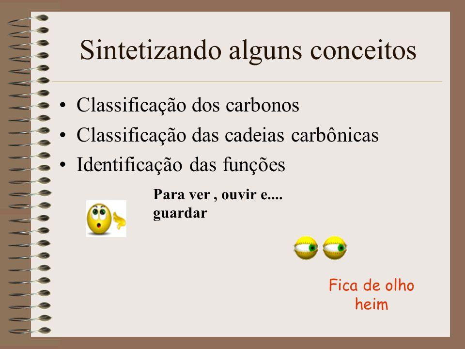 Sintetizando alguns conceitos Classificação dos carbonos Classificação das cadeias carbônicas Identificação das funções Para ver, ouvir e.... guardar