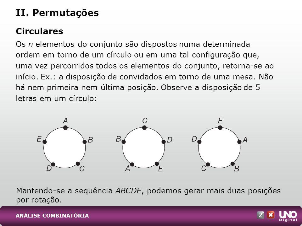 Nas permutações circulares de n elementos de um conjunto, o número de possibilidades diferentes, indicado por PC n, é dado por: Representação das figuras geradas pelo traçado das diagonais de diversos polígonos, um problema clássico de geometria plana.