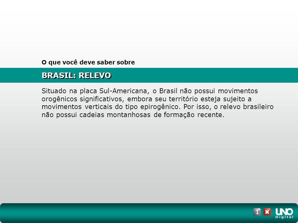 BRASIL: RELEVO O que você deve saber sobre Situado na placa Sul-Americana, o Brasil não possui movimentos orogênicos significativos, embora seu territ