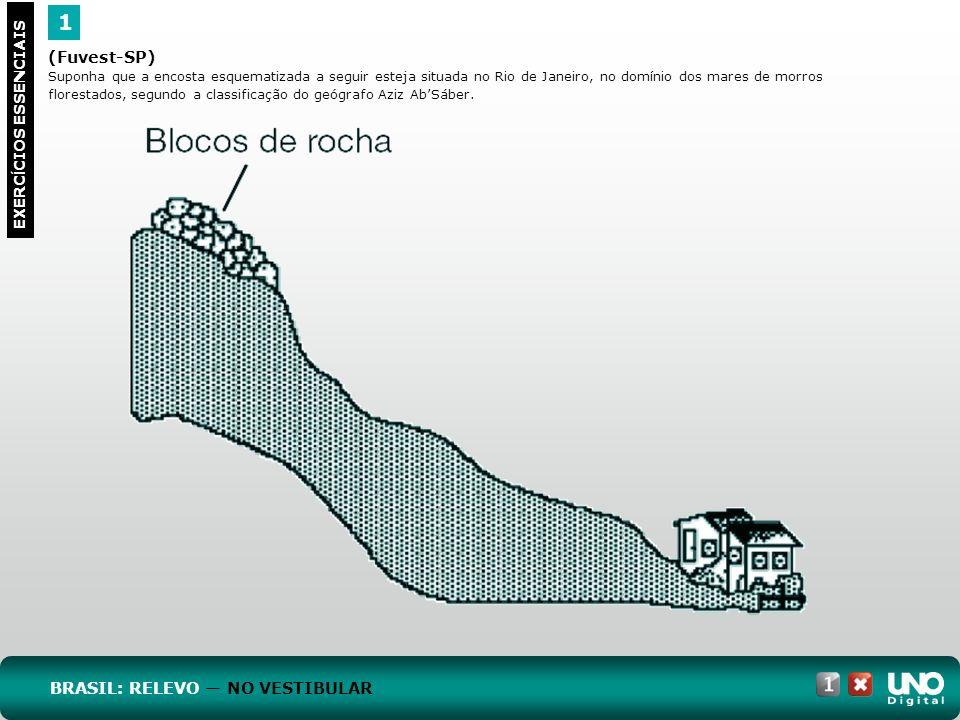 (Fuvest-SP) Suponha que a encosta esquematizada a seguir esteja situada no Rio de Janeiro, no domínio dos mares de morros florestados, segundo a class