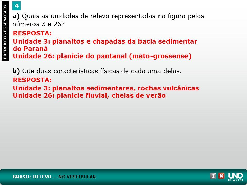 a) Quais as unidades de relevo representadas na figura pelos números 3 e 26? b) Cite duas características físicas de cada uma delas. 4 EXERC Í CIOS ES