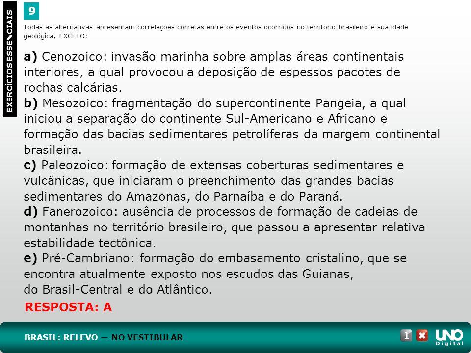 Todas as alternativas apresentam correlações corretas entre os eventos ocorridos no território brasileiro e sua idade geológica, EXCETO: a) Cenozoico: