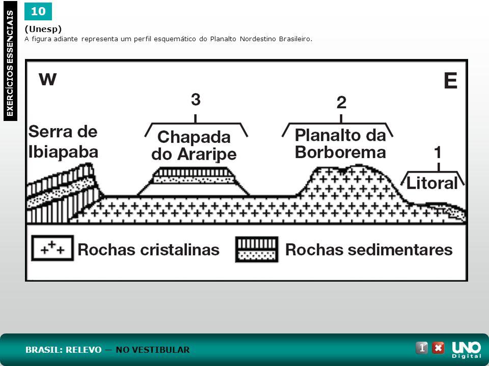 (Unesp) A figura adiante representa um perfil esquemático do Planalto Nordestino Brasileiro. 10 EXERC Í CIOS ESSENCIAIS BRASIL: RELEVO NO VESTIBULAR