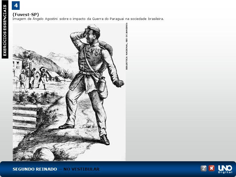 (Fuvest-SP) Imagem de Ângelo Agostini sobre o impacto da Guerra do Paraguai na sociedade brasileira. 4 EXERC Í CIOS ESSENCIAIS BIBLIOTECA NACIONAL, RI