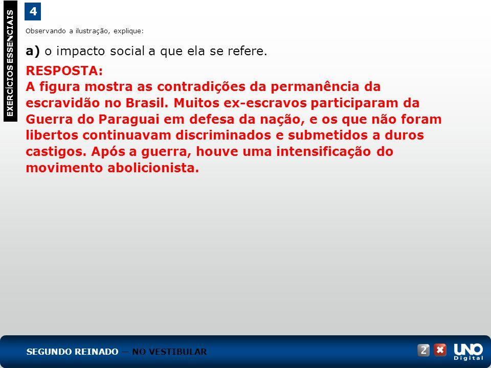 4 EXERC Í CIOS ESSENCIAIS RESPOSTA: A figura mostra as contradições da permanência da escravidão no Brasil. Muitos ex-escravos participaram da Guerra