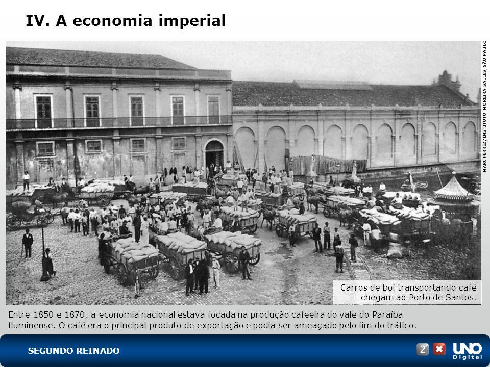 IV. A economia imperial Entre 1850 e 1870, a economia nacional estava focada na produção cafeeira do vale do Paraíba fluminense. O café era o principa