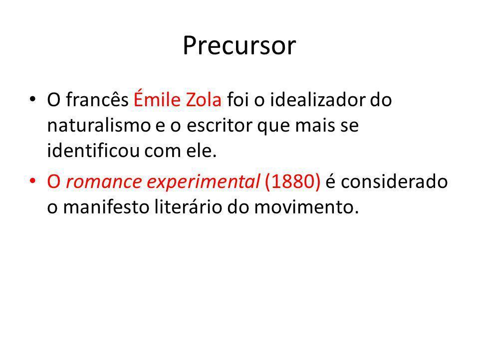 Precursor O francês Émile Zola foi o idealizador do naturalismo e o escritor que mais se identificou com ele. O romance experimental (1880) é consider