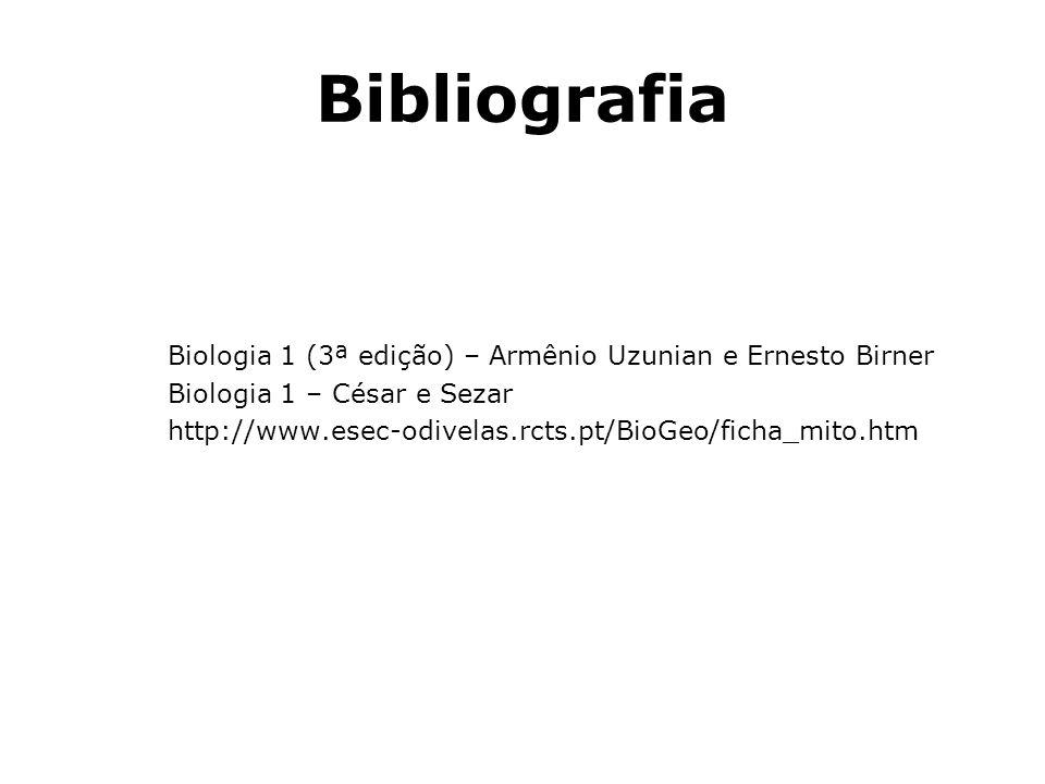 Bibliografia Biologia 1 (3ª edição) – Armênio Uzunian e Ernesto Birner Biologia 1 – César e Sezar http://www.esec-odivelas.rcts.pt/BioGeo/ficha_mito.h