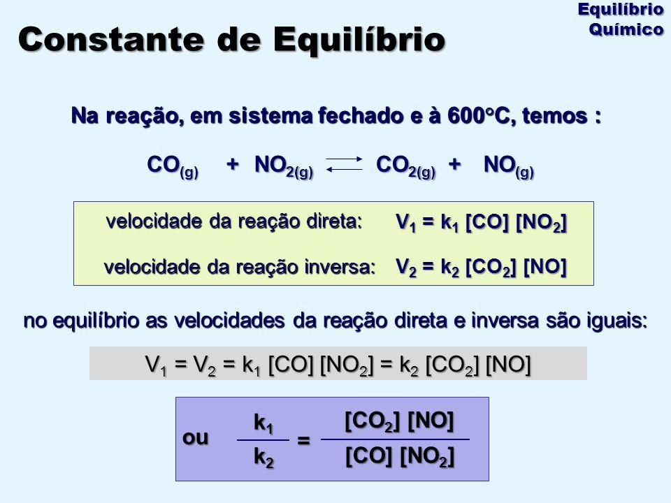 Na reação, em sistema fechado e à 600°C, temos : + NO 2(g) NO (g) + CO 2(g) CO (g) velocidade da reação direta: velocidade da reação inversa: no equil