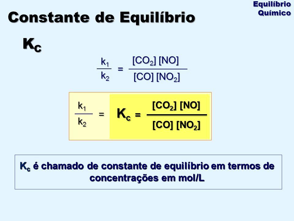 k1k1k1k1 k2k2k2k2 = [CO] [NO 2 ] [CO 2 ] [NO] K c é chamado de constante de equilíbrio em termos de concentrações em mol/L Constante de Equilíbrio K C