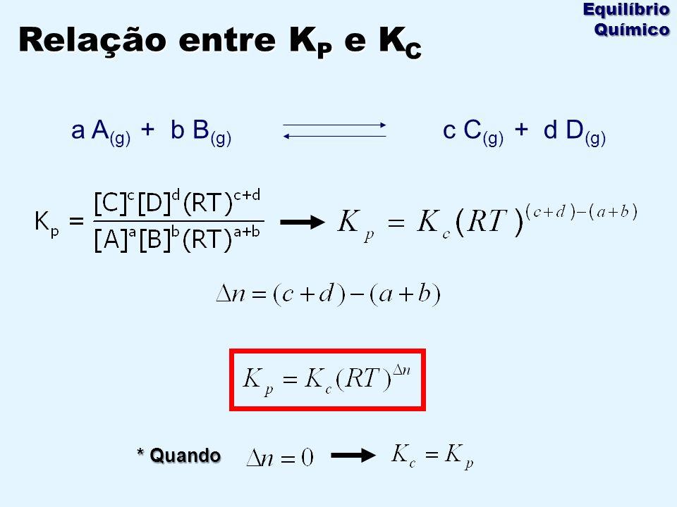 * Quando Relação entre K P e K C Equilíbrio Químico a A (g) + b B (g) c C (g) + d D (g)