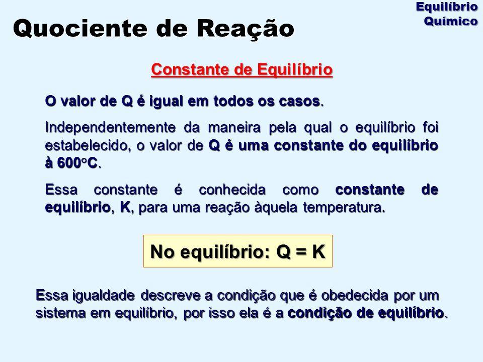 O valor de Q é igual em todos os casos. Independentemente da maneira pela qual o equilíbrio foi estabelecido, o valor de Q é uma constante do equilíbr