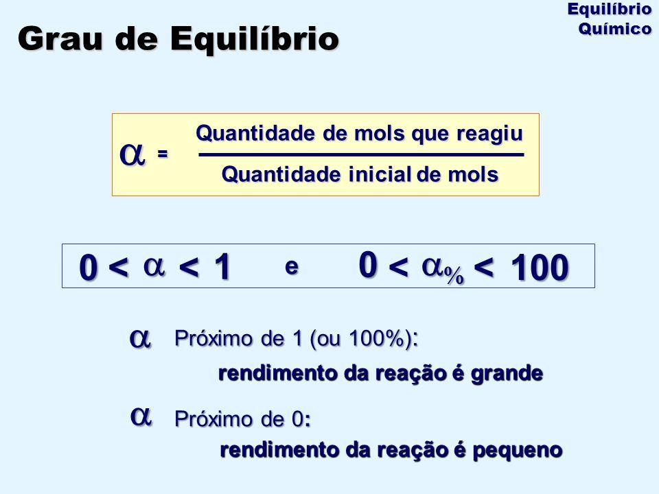 = Quantidade de mols de CO que reagiu Quantidade inicial de mols + 0,20 1,00 NO 2(g) 0,800,800,20 001,00 Início (600°C) NO (g) + CO 2(g) CO (g) reação Equilíbrio = 1,00 - 0,20 1,00 = 80% = 80% = 0,80 = 0,80 ou Grau de Equilíbrio Equilíbrio Químico