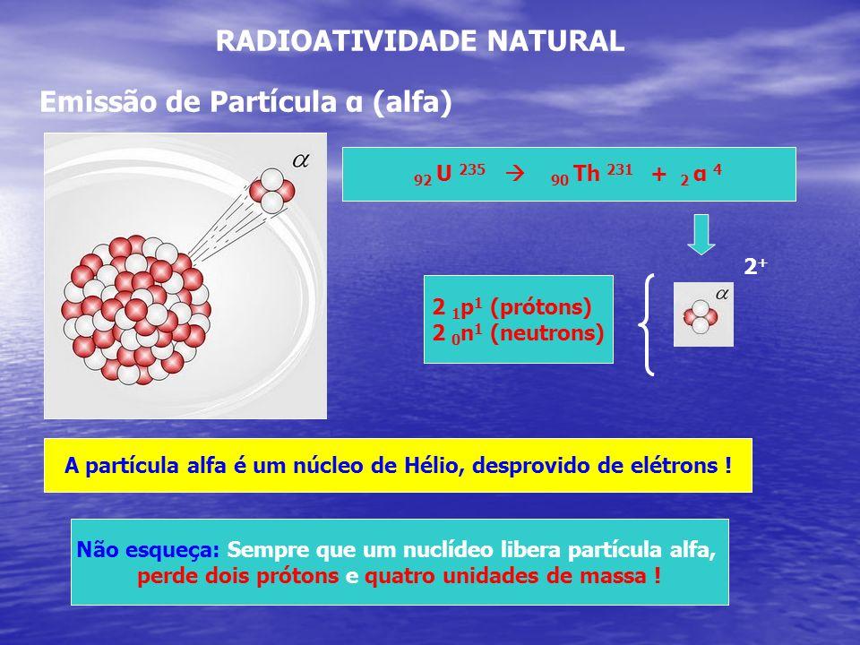 RADIOATIVIDADE NATURAL Emissão de Partícula α (alfa) 92 U 235 90 Th 231 + 2 α 4 2 1 p 1 (prótons) 2 0 n 1 (neutrons) 2+2+ A partícula alfa é um núcleo