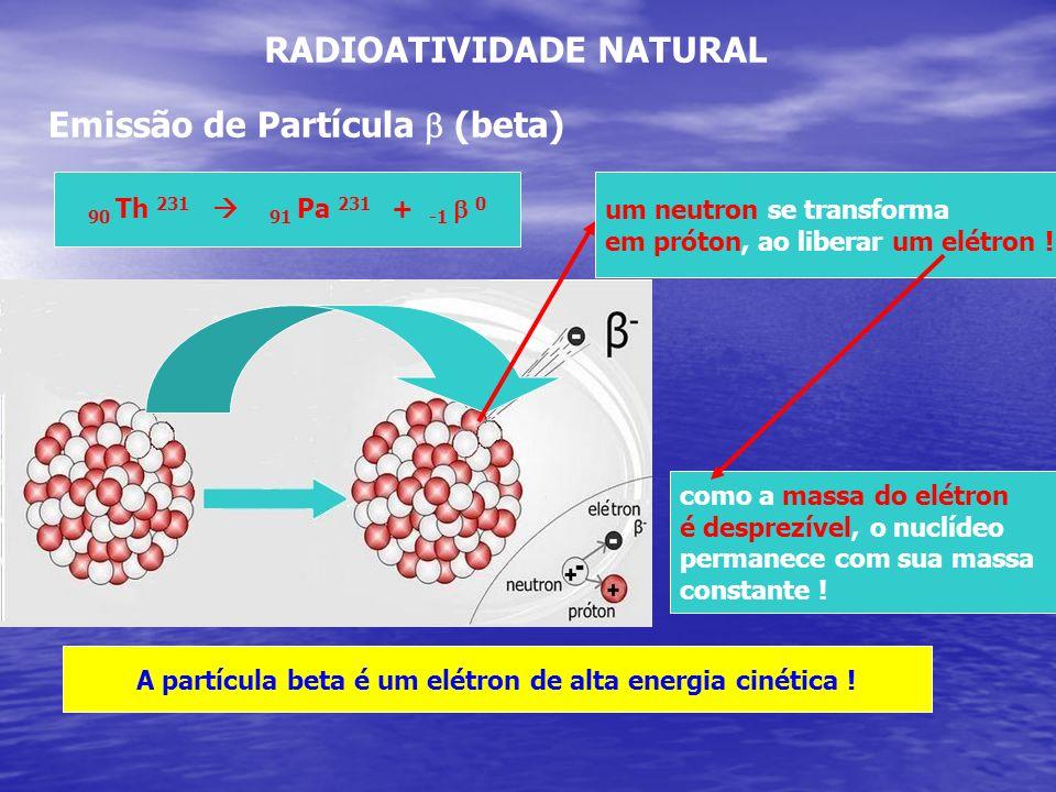 RADIOATIVIDADE NATURAL Emissão de Partícula (beta) 90 Th 231 91 Pa 231 + -1 0 um neutron se transforma em próton, ao liberar um elétron ! como a massa