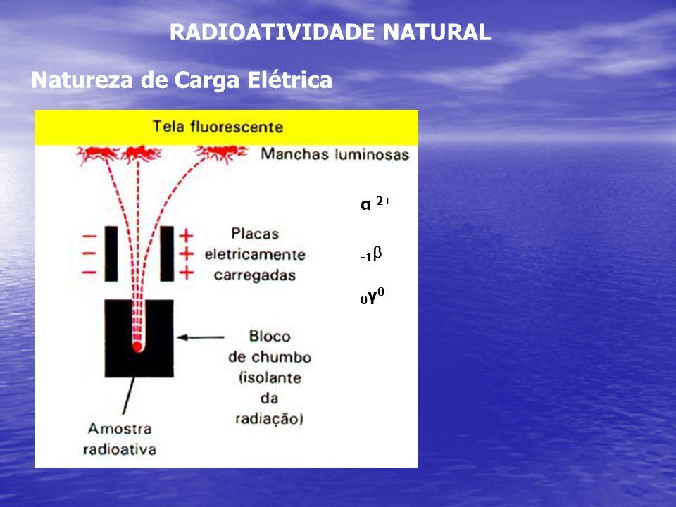 RADIOATIVIDADE NATURAL Natureza de Carga Elétrica α 2+ 0γ00γ0
