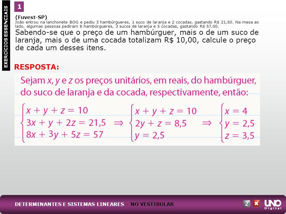 (Fuvest-SP) Considere o sistema de equações nas variáveis x e y, dado por: Desse modo: a) Resolva o sistema para m = 1.