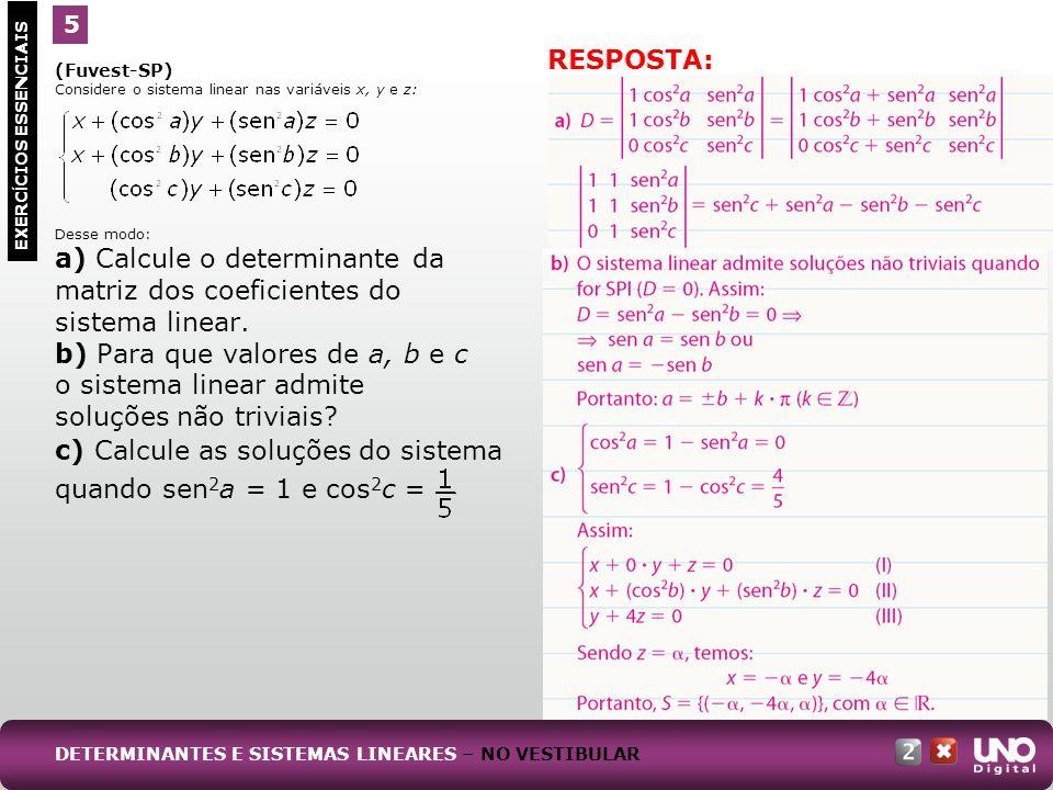 (PUC-RJ) Considere o sistema linear: a) Resolva o sistema para k = 1.