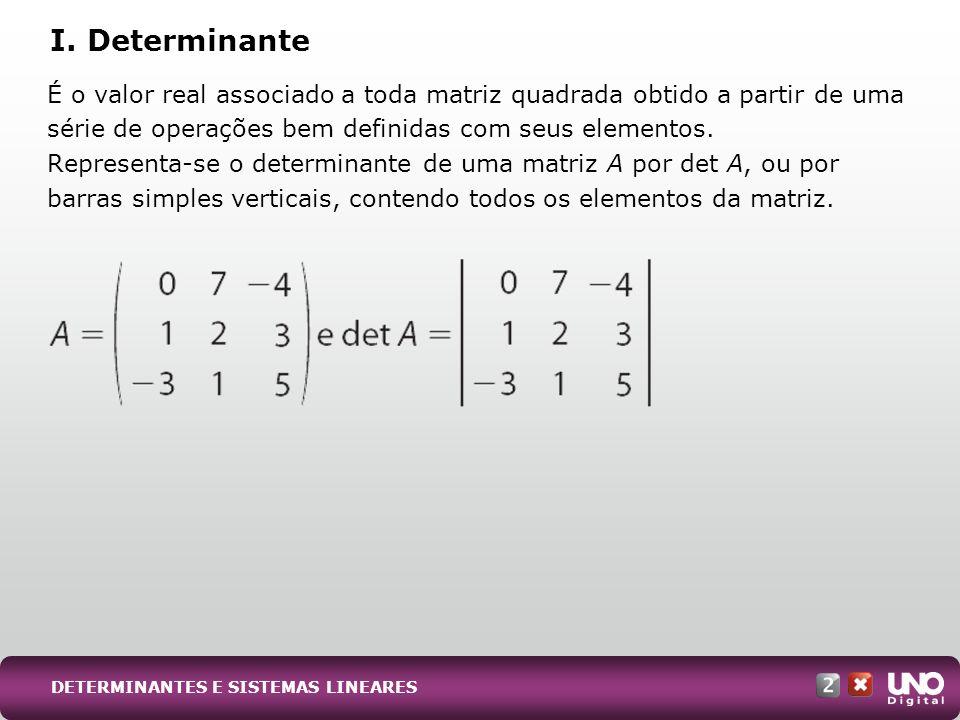 Matriz de ordem 1: o determinante é igual ao único elemento da matriz.