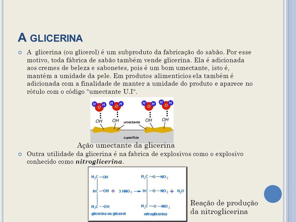 A GLICERINA A glicerina (ou glicerol) é um subproduto da fabricação do sabão.