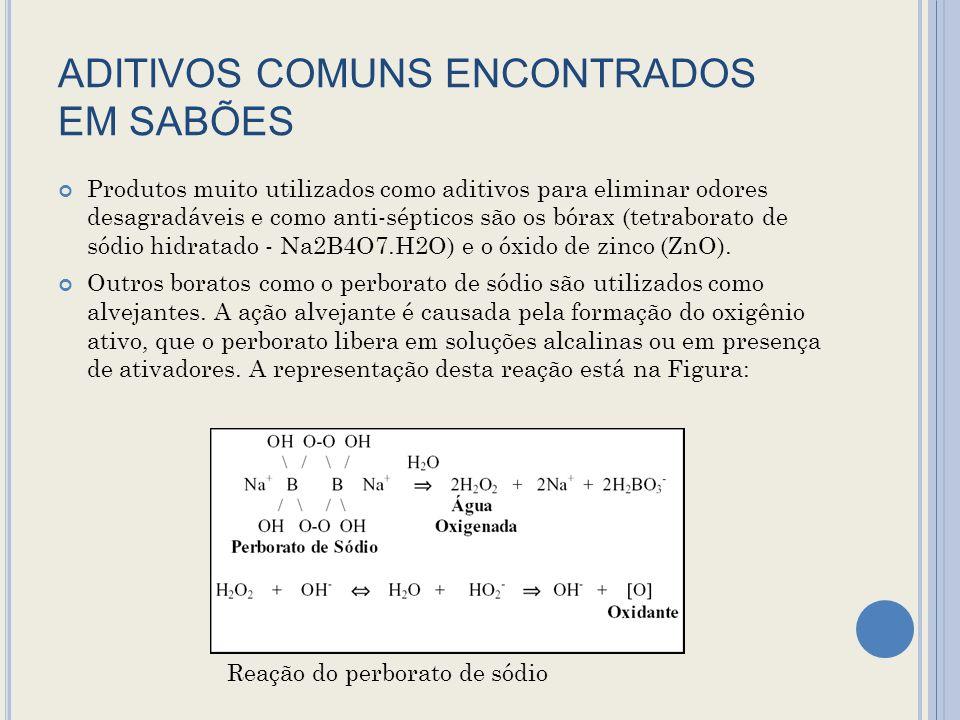 ADITIVOS COMUNS ENCONTRADOS EM SABÕES Produtos muito utilizados como aditivos para eliminar odores desagradáveis e como anti-sépticos são os bórax (tetraborato de sódio hidratado - Na2B4O7.H2O) e o óxido de zinco (ZnO).