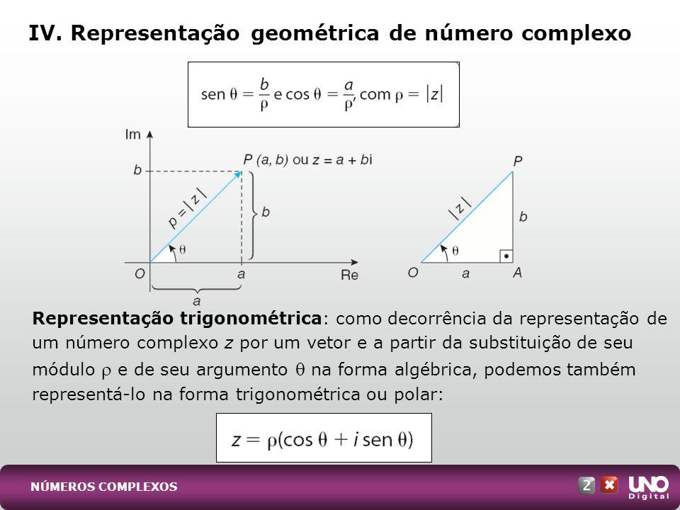Dados dois números complexos z 1 = 1 (cos 1 + i sen 1 ) e z 2 = 2 (cos 2 + i sen 2 ), definimos: Produto Quociente Potenciação (1 a fórmula de De Moivre) V.
