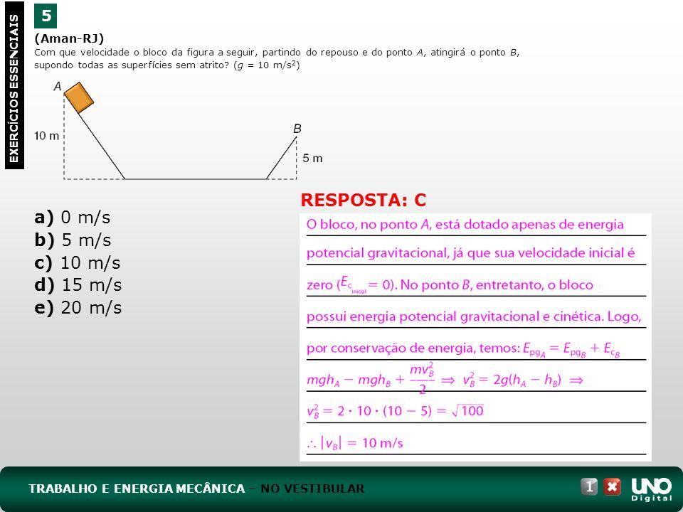 (Aman-RJ) Com que velocidade o bloco da figura a seguir, partindo do repouso e do ponto A, atingirá o ponto B, supondo todas as superfícies sem atrito