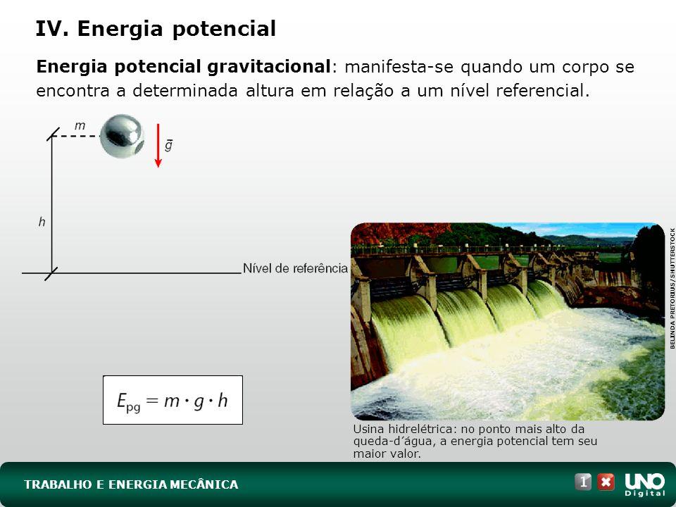 TRABALHO E ENERGIA MECÂNICA IV. Energia potencial Energia potencial gravitacional: manifesta-se quando um corpo se encontra a determinada altura em re