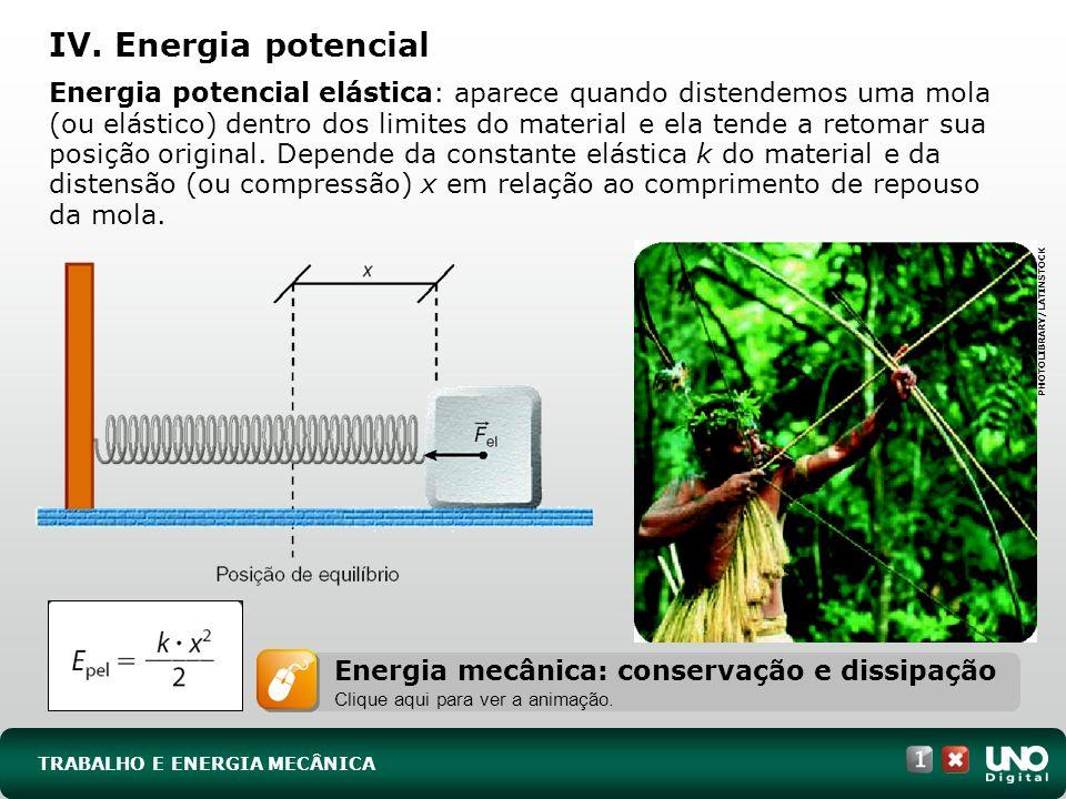 TRABALHO E ENERGIA MECÂNICA Energia potencial elástica: aparece quando distendemos uma mola (ou elástico) dentro dos limites do material e ela tende a