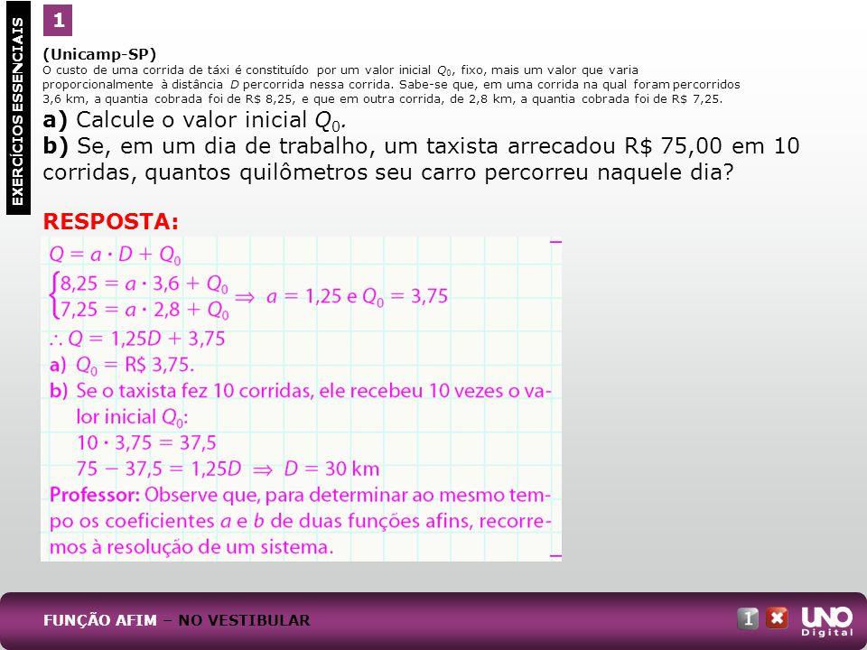 (Unicamp-SP) O custo de uma corrida de táxi é constituído por um valor inicial Q 0, fixo, mais um valor que varia proporcionalmente à distância D perc