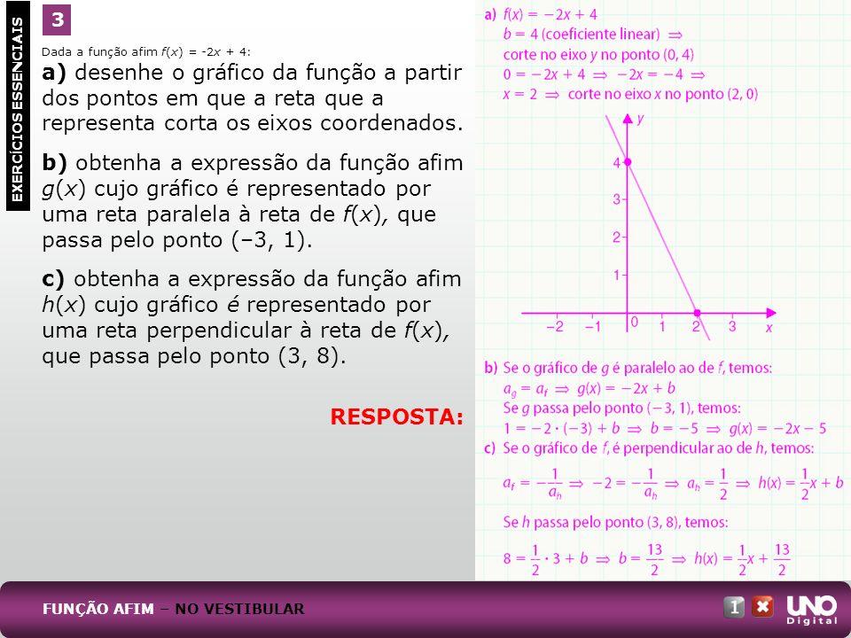 Dada a função afim f(x) = -2x + 4: a) desenhe o gráfico da função a partir dos pontos em que a reta que a representa corta os eixos coordenados. b) ob
