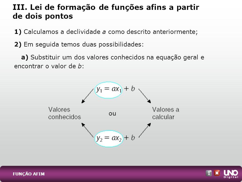 III. Lei de formação de funções afins a partir de dois pontos 1) Calculamos a declividade a como descrito anteriormente; 2) Em seguida temos duas poss