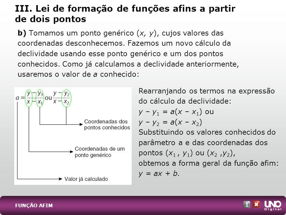 III. Lei de formação de funções afins a partir de dois pontos b) Tomamos um ponto genérico (x, y), cujos valores das coordenadas desconhecemos. Fazemo