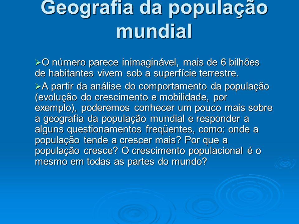 Geografia da população mundial O número parece inimaginável, mais de 6 bilhões de habitantes vivem sob a superfície terrestre. O número parece inimagi