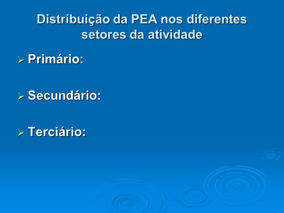 Distribuição da PEA nos diferentes setores da atividade Primário: Primário: Secundário: Secundário: Terciário: Terciário: