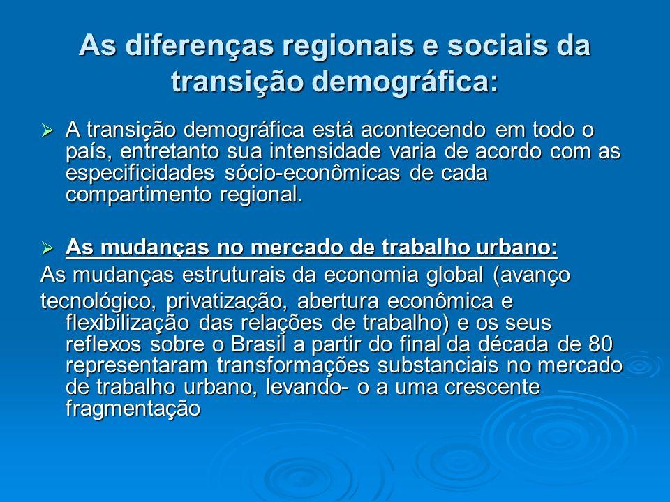 As diferenças regionais e sociais da transição demográfica: A transição demográfica está acontecendo em todo o país, entretanto sua intensidade varia