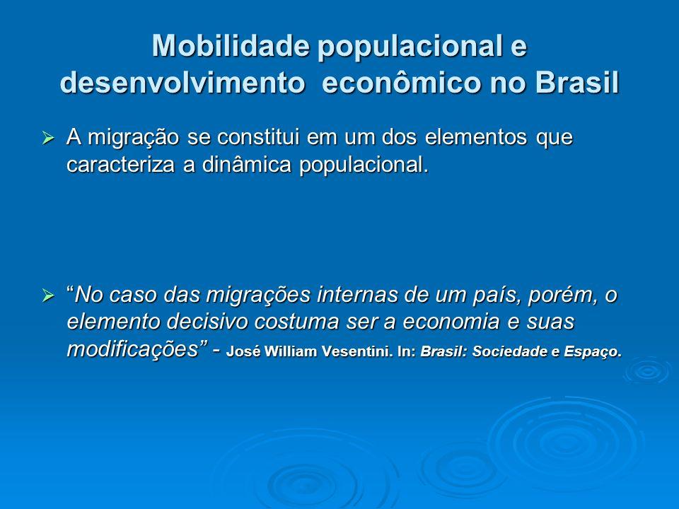 Mobilidade populacional e desenvolvimento econômico no Brasil A migração se constitui em um dos elementos que caracteriza a dinâmica populacional. A m