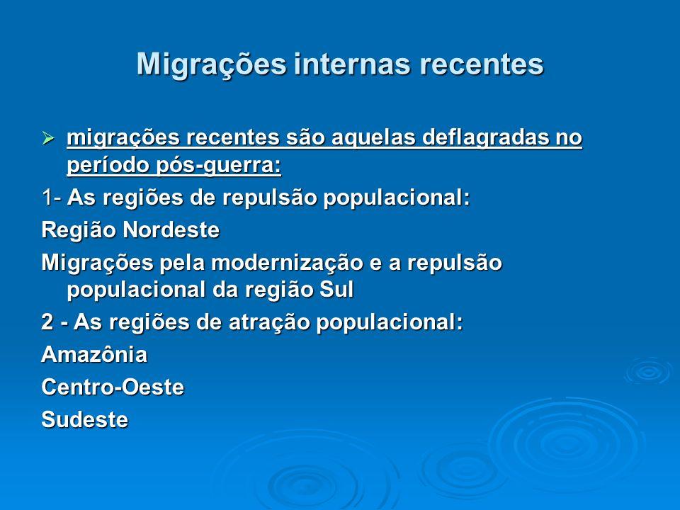 Migrações internas recentes migrações recentes são aquelas deflagradas no período pós-guerra: migrações recentes são aquelas deflagradas no período pó