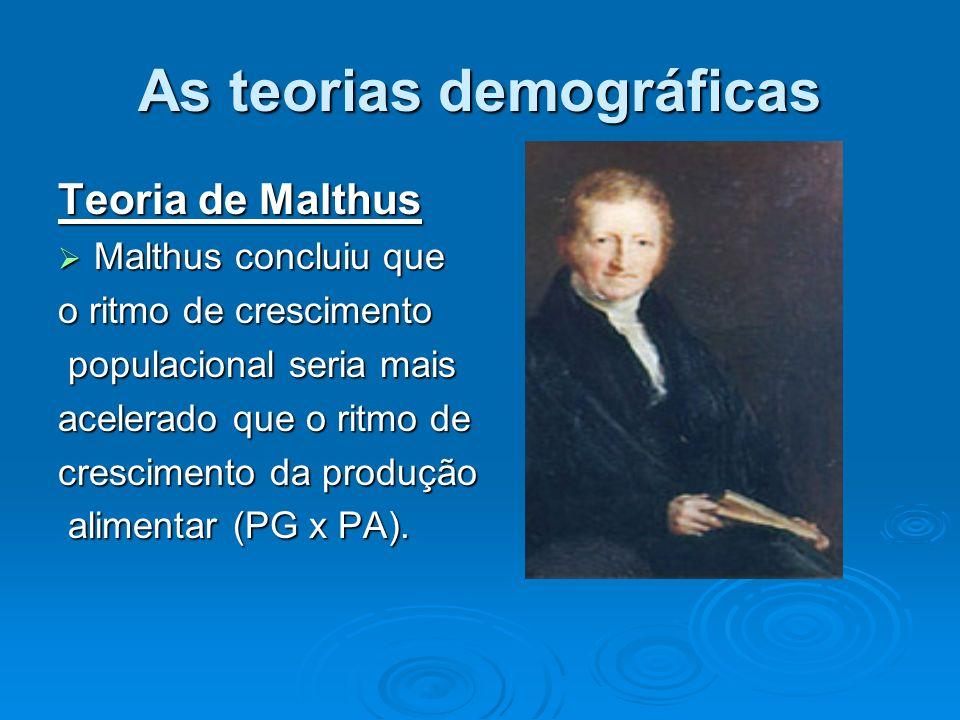 As teorias demográficas Teoria de Malthus Malthus concluiu que Malthus concluiu que o ritmo de crescimento populacional seria mais populacional seria